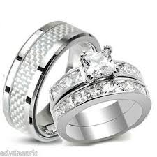 wedding rings set his hers aaa quality cz wedding ring set stainless steel wedding