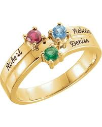 mothers rings 4 stones deals on 14k gold engravable family s