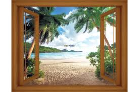 mural window view with sea and palms 3 3 colours wallpapers mural window view with sea and palms 3 3 colours