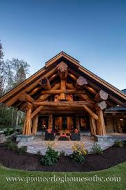 Slokana Log Home Log Cabin Round Log Post And Beam Entryway On What Appears To Be An