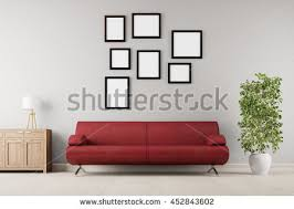 many empty frames hanging over sofa stock illustration 367199381