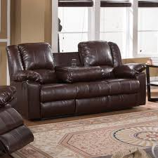 Brown Leather Reclining Sofa by Furniture Dark Brown Leather Reclining Loveseat Sofa With Cup