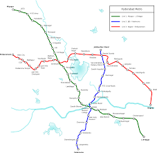 Green Line Metro Map by Hyderabad Metro Map India