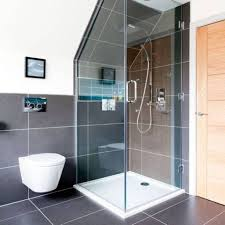 attic bathroom with black tiles and corner shower pros and crons