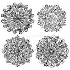 four isolates circular mandalas with different ornaments