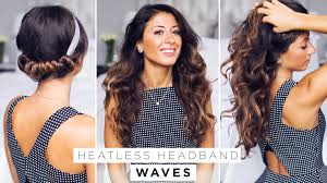 black hairstyles without heat heatless headband waves youtube