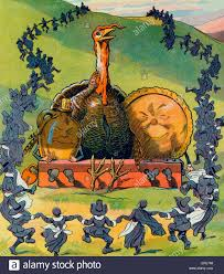 thanksgiving illustration shows a large turkey a jug of