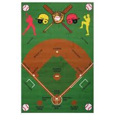 Baseball Area Rug 3 X 5 Small Baseball Field Multi Color Area Rug Time Rc