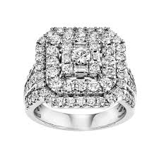2 carat white gold engagement ring certified square halo engagement ring in 10k white