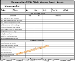Front Desk Manager Hotel Manager On Duty Mod Report Night Manager Checklist