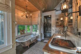 rustic full bathroom with hardwood floors u0026 frameless showerdoor