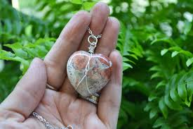 heart stone necklace pendants images Jasper heart necklace heart stone healing stones wire wrapped jpg