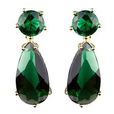 green earrings green cz pear drop gold tone earrings 1 2 inches