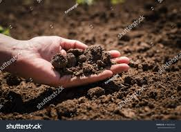 soil cultivated dirt earth ground brown stock photo 418925836