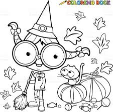 coloring page halloween witch sweeping pumpkin leaves stock vector