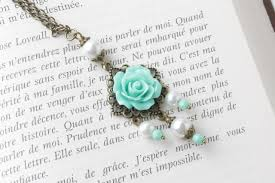 vintage style necklace images Mint rose necklace vintage style necklace mint flower necklace jpg
