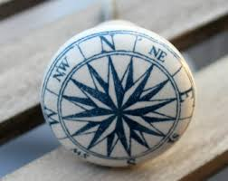 White Porcelain Cabinet Knobs Compass Knob Etsy