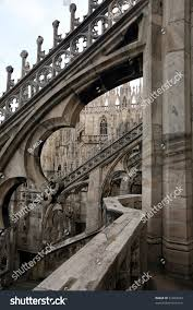 flying buttresses duomo cathedral milan italy stock photo 91603694