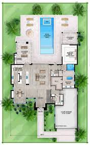 this 4 bedroom coastal contemporary house plan features a great