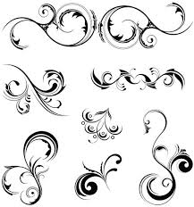 curled floral ornaments illustration 4 ai format free vector