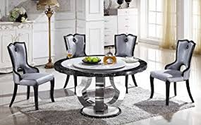 amazon com round marble dining table with lazy susan t 6316