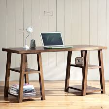Wooden Desk With Shelves Customize It Simple Trestle Desk Pbteen