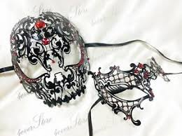 masquerade mask for couples his hers black masquerade mask phantom skull mask couples set
