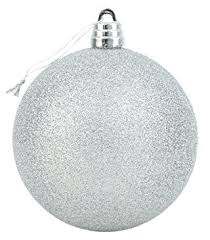 15cm giant silver glitter bauble christmas decorations tree