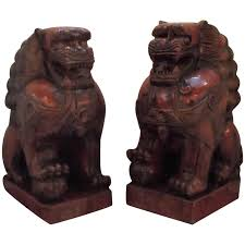 foo lions for sale pair of cinnabar lacquered carved wood foo dogs for sale at 1stdibs