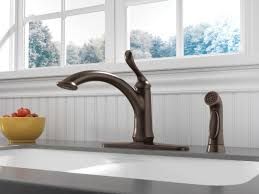 silver single hole delta linden kitchen faucet two handle pull