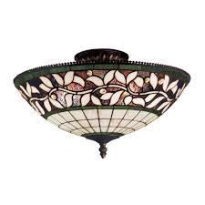 Home Depot Flush Mount Ceiling Lights Titan Lighting English Ivy 3 Light Tiffany Bronze Ceiling Semi