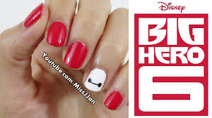 very easy disney big hero 6 inspired nail art short nails