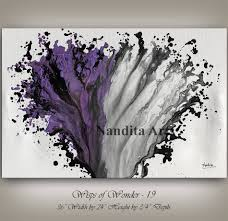 Home Design Ideas Nandita Purple And Grey Modern Painting Wall Art Magenta Abstract Home