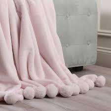 light pink throw blanket luxe pom pom polyester throw blanket color light pink 92