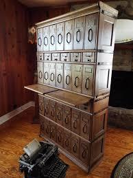 Bedroom Furniture Glasswells Antique Tiger Oak Card File 36 Drawers Brass Bands Globe Brand