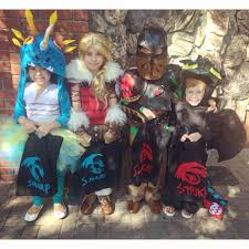 homemade halloween kids group costume how to train your dragon