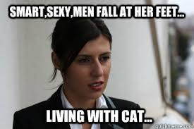 Sexy Women Meme - smart sexy men fall at her feet living with cat 21st century