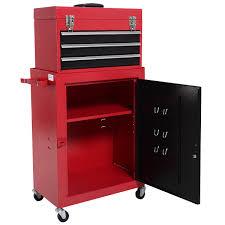 costway 2pc mini tool chest u0026 cabinet storage box rolling garage
