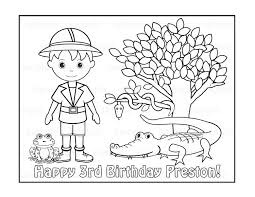 birthday boy coloring pages personalized printable safari jungle boy birthday party