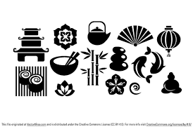 japanese icons set free vector