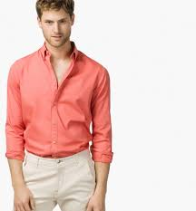 new men summer stylish slim fit pure cotton peach color casual