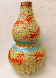 Koi Fish Vase Orange Koi Fish Porcelain Double Gourd Vase 30