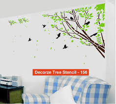 tree and birds stencil customize design 156 stenciling wall