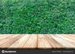 wooden leaves wall empty wooden table top with green leaves wall background stock