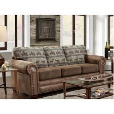 Leather And Tapestry Sofa American Furniture Classics Deer Teal Lodge Tapestry Sofa Sleeper