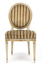 Set Of Four Dining Chairs Gold Leaf Striped Velvet Louis Xvi Dining Chairs Jean Marc Fray