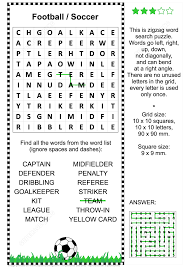 football soccer zigzag word search puzzle for kids and adults