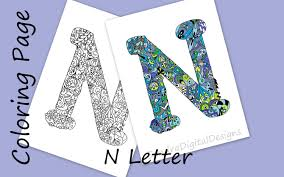 letter n colouring page zentangle art inspired adults coloring