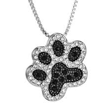 crystal shaped necklace images Silver crystal animal pet necklaces for cat dog lovers puppy paw jpg