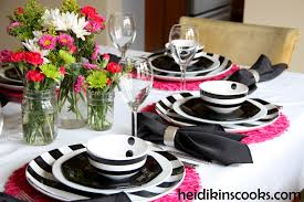 ikea pink plates black and white stripe table setting heidikins cooks